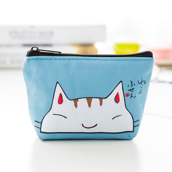 Cute Cartoon Canvas Creative Coin Purse Women Fashion Coin Purse Wallet Card Holder Key Change Bag Mini Pouch Cute Cat Gift New image