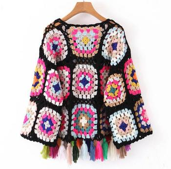 Geometric Ethnic Retro Colored Plaid Hollow Out Knitted Sweater6