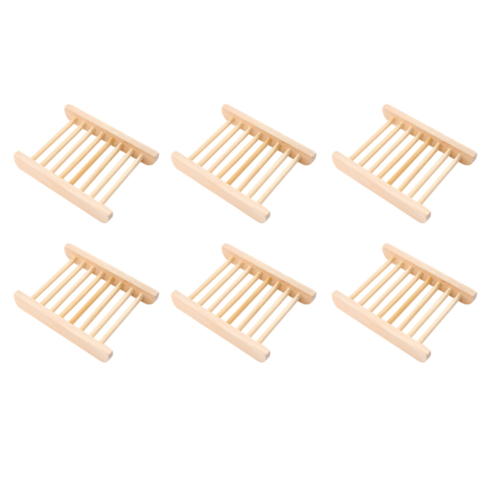 6pcs Natural Wooden Bamboo Soap Dish Tray Holder Manual Drain Soap Box Holder Organizer Bathroom Shower Plate