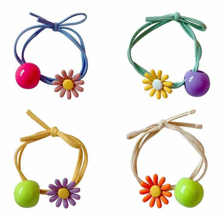1 Pcs צבעים בוהקים דייזי פרח שיער קליפ אופנה שיער טבעת חבל להקות סיכות קוקו אישה בנות ילדים אביזרי שיער בעל