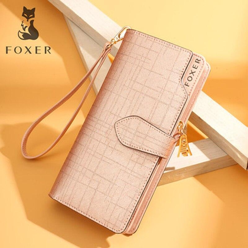 FOXER Women Cowhide Leather Wallets Purses High Quality Long Wallet Women Wallet Zipper Girls' Clutch With Wristlet