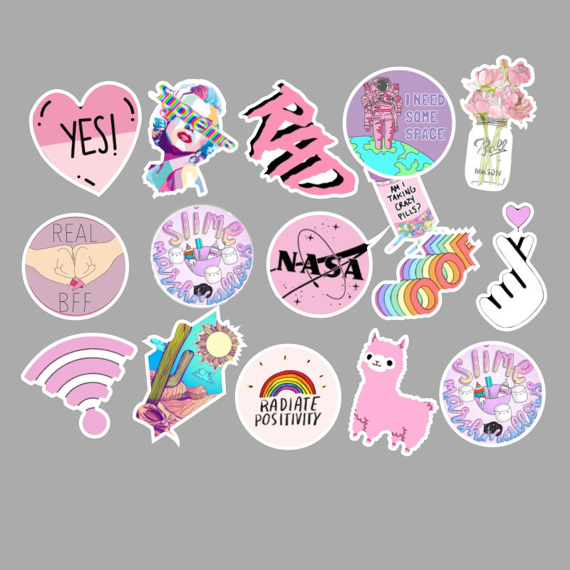 53 Pcs lot Fashion Light Pink Ladies Girls PVC Graffiti Stickers Toys Decor for Car Laptop Pad Phone Trunk Guitar Bicycle Motor in Stickers from Toys Hobbies