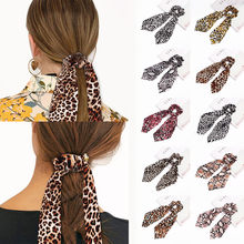 1 Pcs Women Hair Bundles With Leopard Polka Dot Polka Dot Ribbon Band Scarf 10 colors hair accessories scrunchie headband(China)