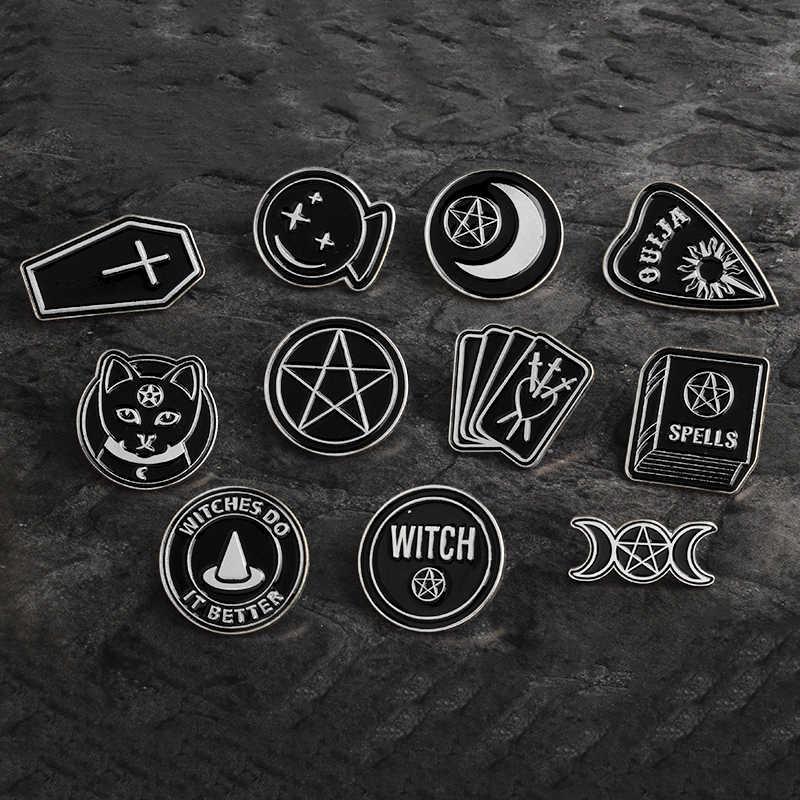 Abad Pertengahan Eropa Hitam Sihir Sihir Pin Agama Gothic Punk Bros Lencana Tas Enamel Pin Perhiasan Hadiah untuk Teman