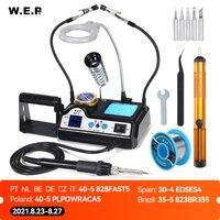 WEP 927 Clips de soldadura de hierro opcional con lupa lámpara pantalla Digital Kit de soldadura eléctrico de hierro de estación de soldadura