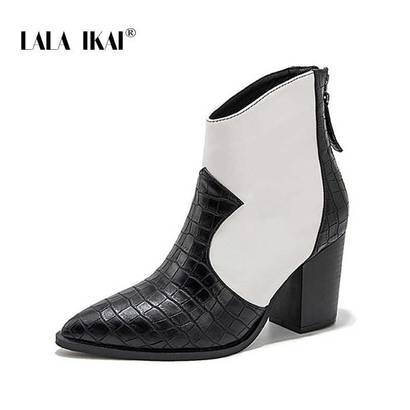 LALA IKAI femmes bottes d'hiver 2019 Pu cuir automne talons hauts bout pointu chaussures femme talons carrés couleurs mélangées bottes WC5780-4