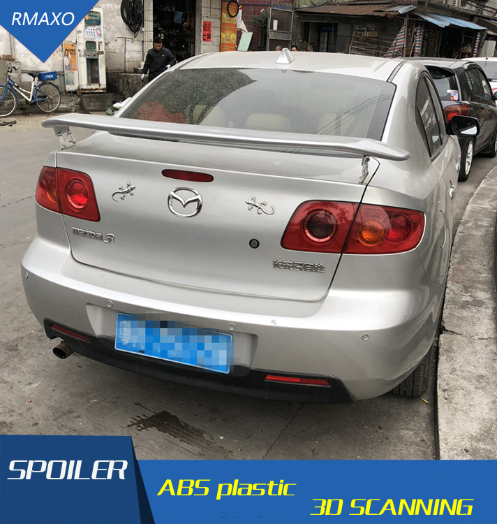 For Mazda 3 <font><b>RX8</b></font> 2006-2013 SpoilerABS Material Car Rear <font><b>Wing</b></font> Primer Color Rear Spoiler Press the tail For Mazda 3 <font><b>RX8</b></font> Spoiler image