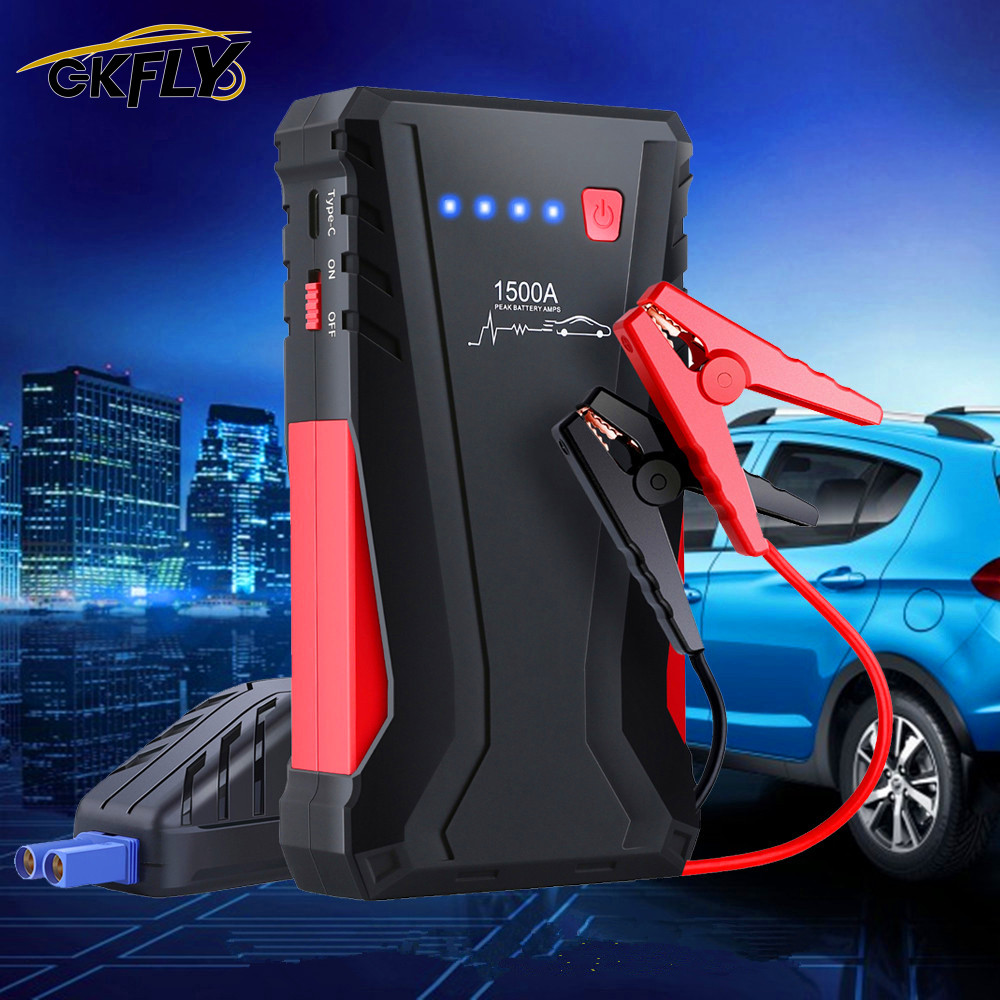 GKFLY Multi-Function 1500A Starting Device 12V Car Jump Starter Power Bank Car Charger For Car Battery Booster For Petrol Diesel