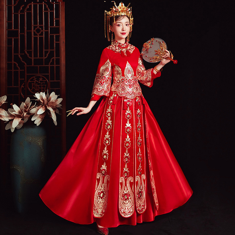 XiuHe High Quality Red Chinese Wedding Dress Female Cheongsam Gold Slim Chinese Traditional Dress Women Qipao For Wedding Party