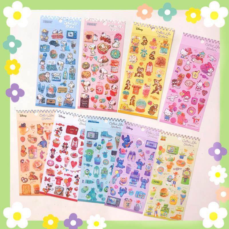 1sheet Exquisite Cartoon My Melody Stitch Squirrel Stamping Stickers DIY For Craft Diary Scrapbooking Planner Sticker Toys Gift