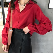 Women Casual Solid Color Shirt Spring Loose Blusa Tops Female Turn Down Collar Puff Long Sleeve Blouse