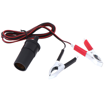 1PC 1.5M Car Battery Terminal Clip-on Cigarette Lighter Socket Power Adapter image