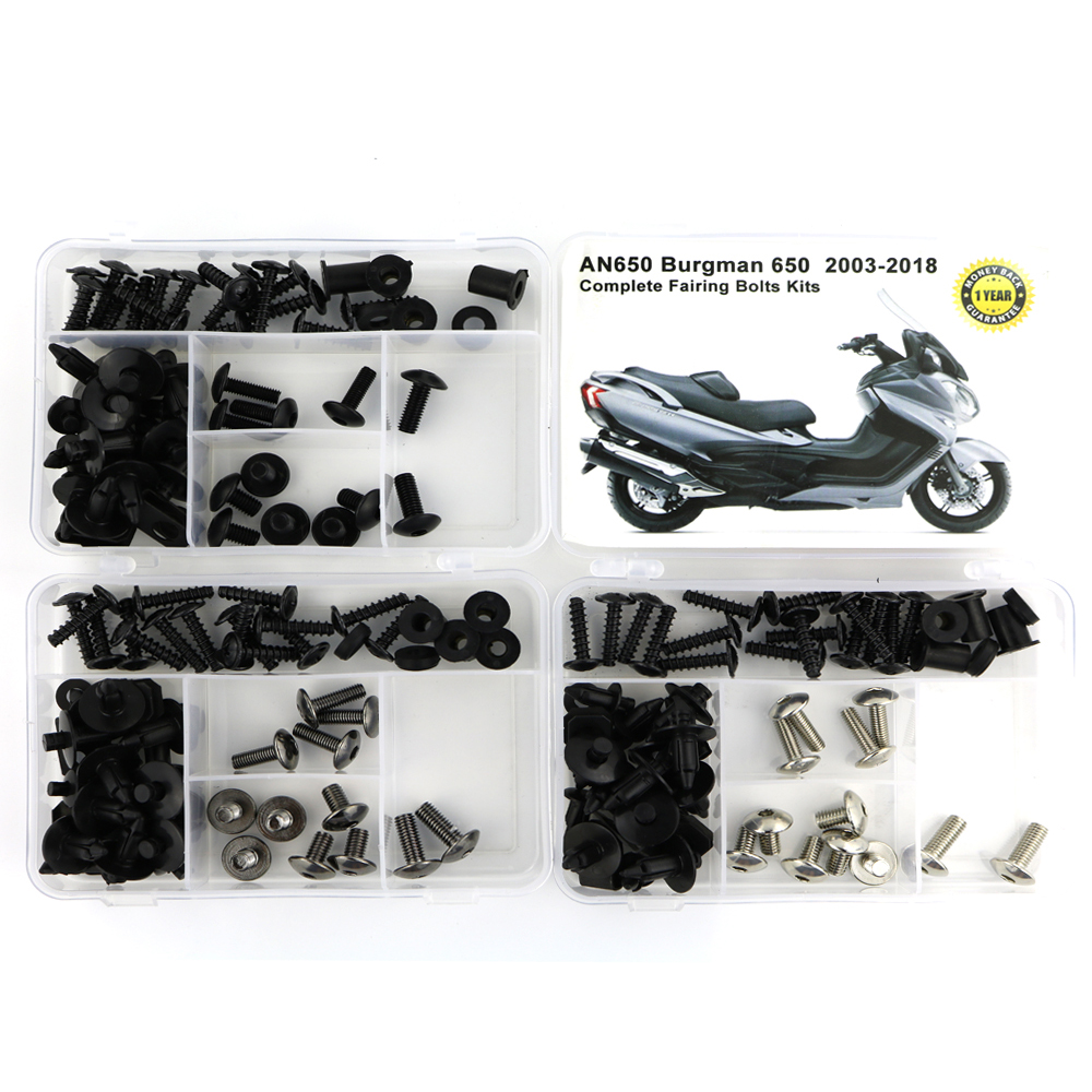 For Suzuki AN650 Burgman 650 2003 2018 Complete Cowling Full Fairing Bolts Kit Clips Speed Nuts Motorcycle Fairing Kit OEM Steel in Full Fairing Kits from Automobiles Motorcycles
