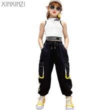 Hip-hop crianças meninas de dança roupas colete tops calças de carga sweatpants moderno bebê adolescentes 9 10 11 12 13 anos meninas streetwear