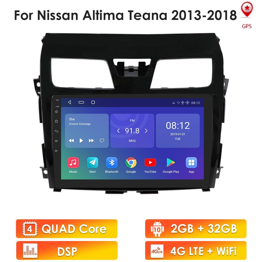 2 din android 10 quad core rádio do carro gps para nissan teana 2013 2014 2015 altima 2016 2017 2018 rádio gps 2g ram 32g rom jogador