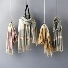Новые осенние и зимние модные полосатые шарфы с кисточками из хлопка и льна, женский длинный шарф, Женская кашемировая накидка для офиса