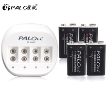 Original PALO 9V Battery Charger for Rechargeable 6F22 Lithium-ion Battery+4pcs 600mAh Li-ion Batteries