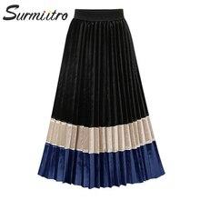 Surmiitro الخريف الشتاء المخملية مطوي تنورة طويلة النساء 2019 الأزياء خليط السيدات الكورية عالية الخصر خط ميدي تنورة الإناث