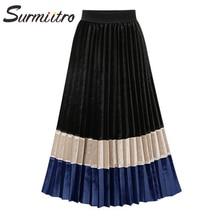 Surmiitro Autumn Winter Velvet Pleated Long Skirt Women 2019 Fashion Patchwork Ladies Korean High Waist A Line Midi Skirt Female