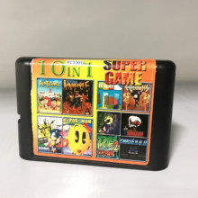 Super Game 10 In 1 Multi Game Card With Sonic Turtles Bare Knuckle Flicky Chase HQ For 16 bit Sega Mega Drive / Genesis(China)