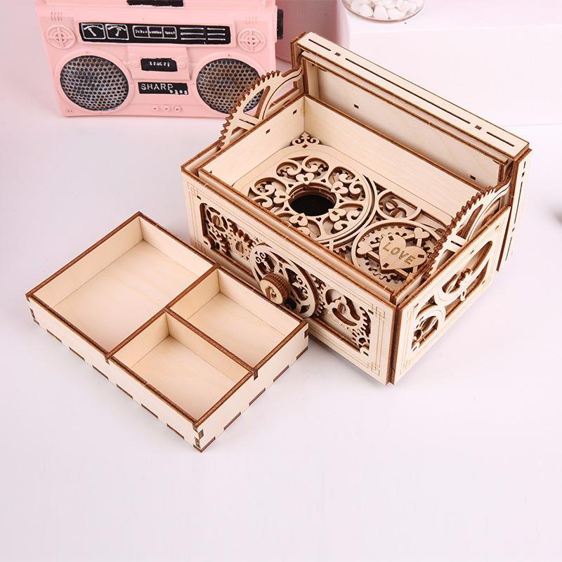 Wooden Mechanical Transmission Model Uguter Music Jewelry Box 3d Assembling Diy Wooden Secret Treasure Box Mechanism Box
