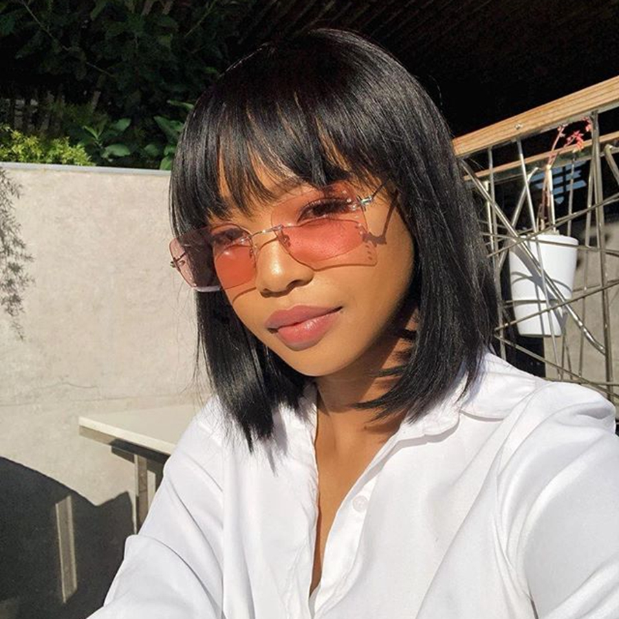 Peruvian Remy Human Hair Bob Cut 13x6 Lace Front Wigs With Air Bangs Glueless Short Lace Wig Pre Plucked Baby Hair Fringe