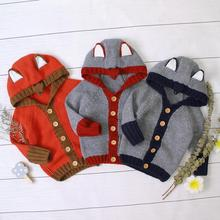Infant Baby Sweaters Casual Newborn Girls Long Sleeves Knitted Jackets Hooded Toddler Kids Boys Cardigans Coats Tops Cartoon Fox red christmas reindeer knitted baby jacket for girls fall long sleeved sweaters cardigans coats newborn boys winter warm clothes