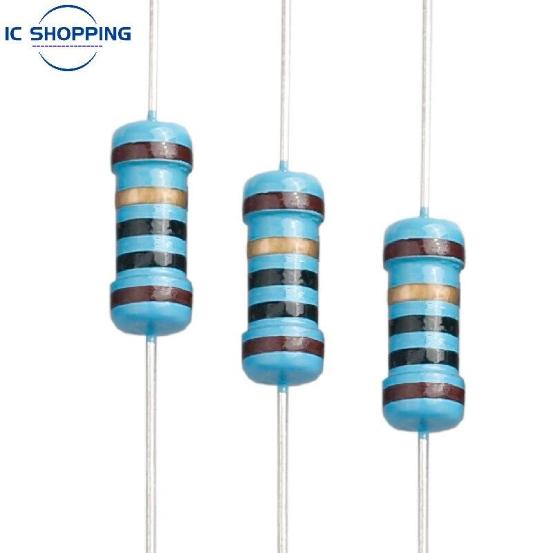20 pçs 1w metal filme resistor 1% anel de cinco cores resistor de energia 0.1 1 1m 2 4.7 10r 47 100 220 360 470 1k 2.2k 10k 22k 4.7k 100k ohn
