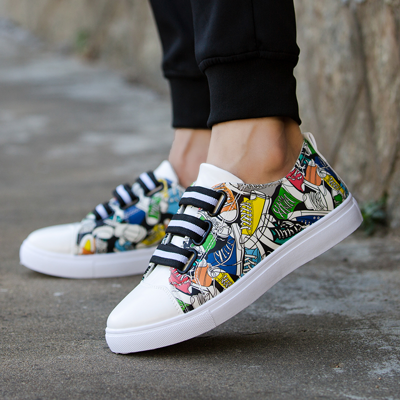 New Fashion Unisex Men Shoes Graffiti Printing Vulcanized Shoe Students White Shoes Spring Autumn Casual Masculino Adult Shoe