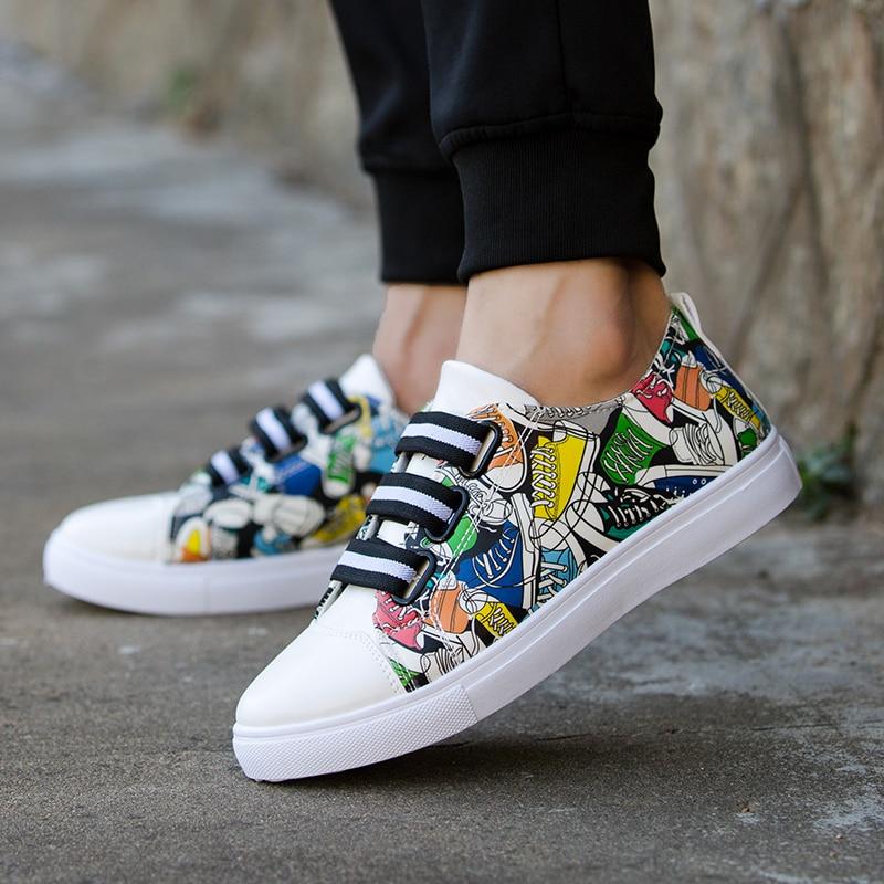 New Fashion Unisex Men Shoes Graffiti Printing Vulcanized Shoe Students White Shoes Spring Autumn Casual Masculino Adult Shoe