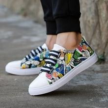 Новая Мода Унисекс Мужчины Обувь Граффити Печать Вулканизированной Студентов Обувь Белый Обувь Весна Осень Покроя Наручные Взрослой Обуви
