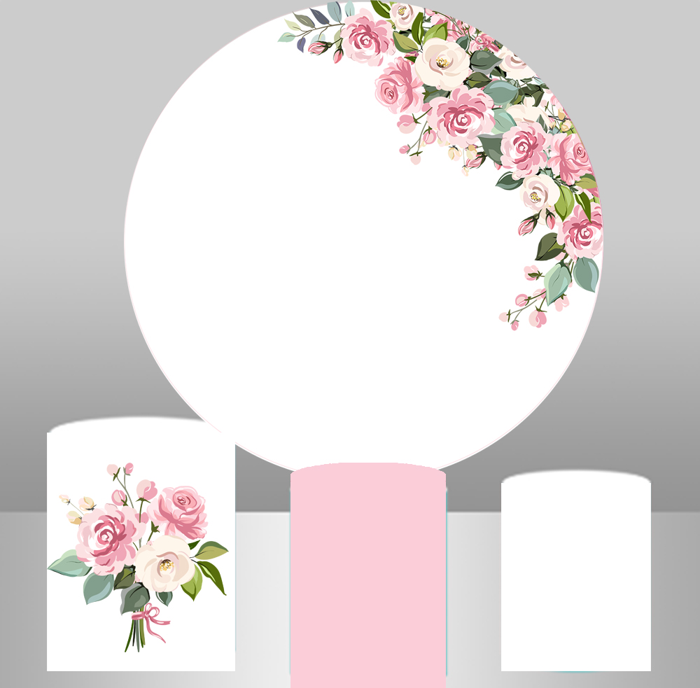 Round Circle Background Wedding Table Party Watercolor Floral Flower Backdrop Bridal Baby Shower Candy Banner Cylinder YY-305