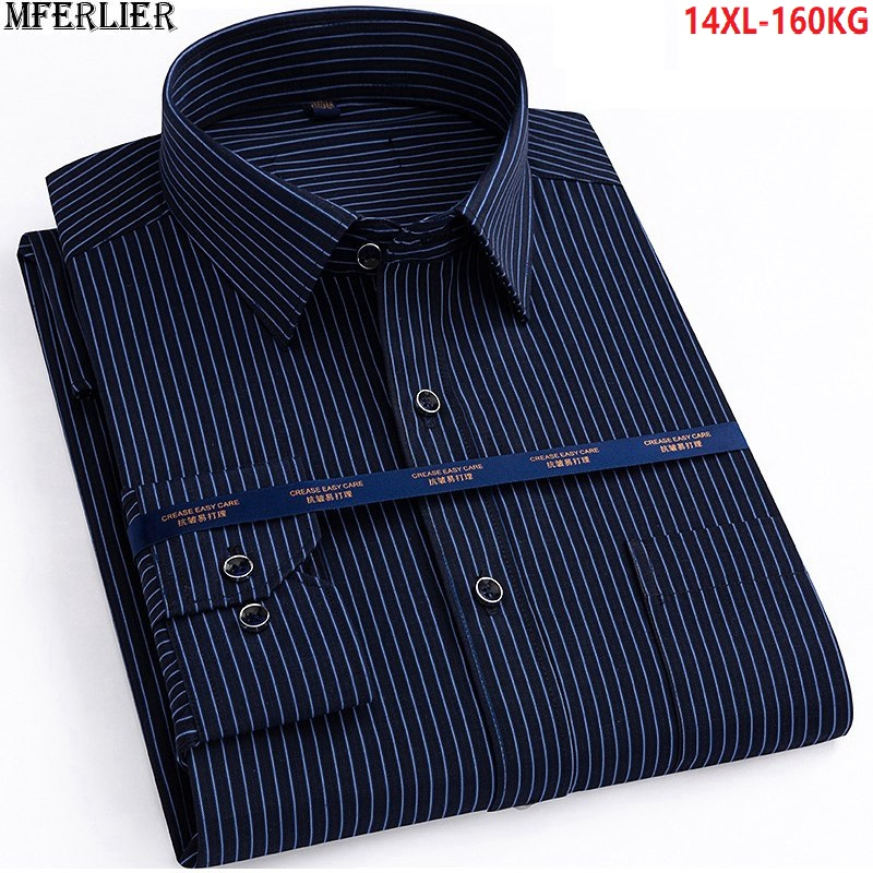 Autumn Men Plus Big Size 14XL Striped Shirt Work Business Long Sleeve Winter 7XL 8XL Dress Shirt 9XL 10XL 11XL 12XL 13XL Shirts