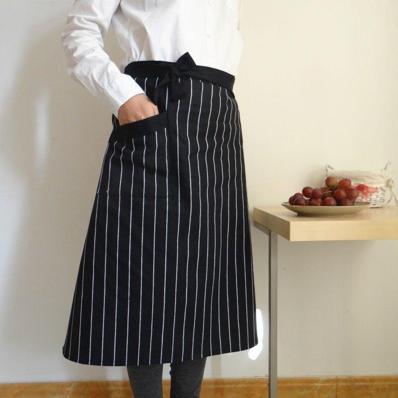 新製品クラシック綿黒と白のパターンブルーストライプ家庭の台所大人の半分の長さ x ロングエプロン - Kennen Store
