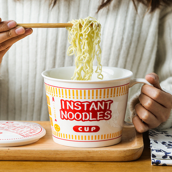 Creative large ceramic bowls with cover big bowl cereal bowl noodle bowl student dormitory bowl