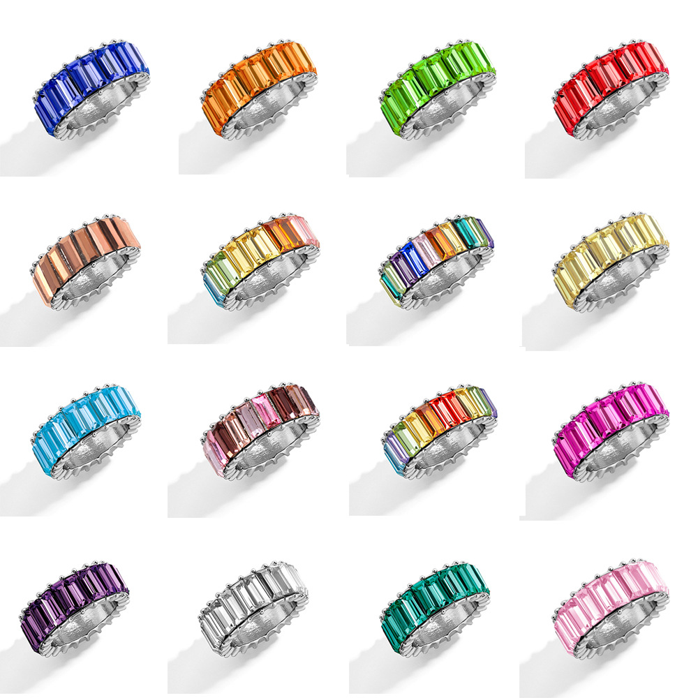KMVEXO 15 Color Dainty Rainbow Ring Multi Color Crystal Eternity Square Baguette Finger Ring Women Female Wedding Jewelry