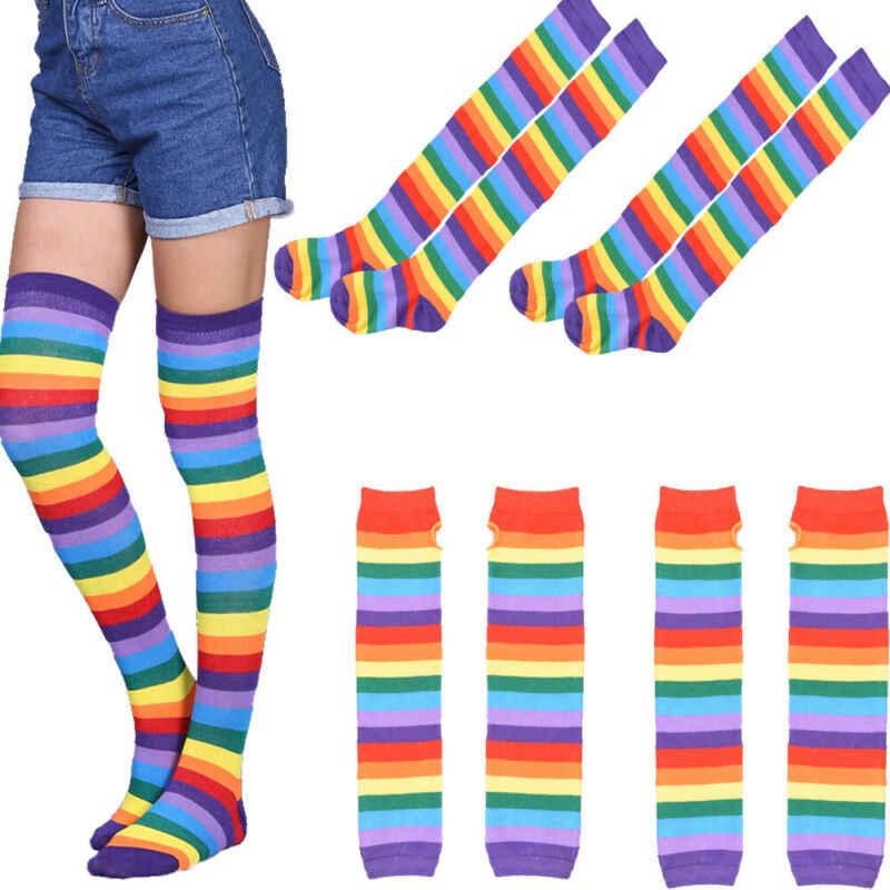 新ガールズレディース女性ニーソックスにわたって高腿長綿ストッキング暖かい虹アームストレッチミトン手袋グローブセット