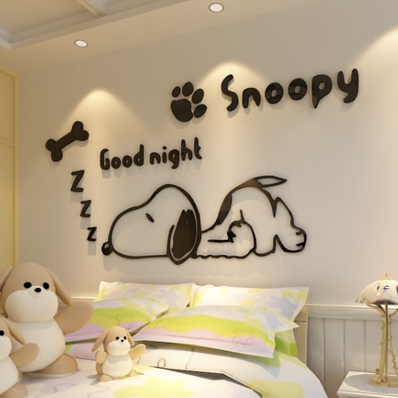 Snoopy Acrylic 3D Solid Crystal Bedroom Wall With Living Room Classroom Stickers Coffee Shop Decoration Ideas