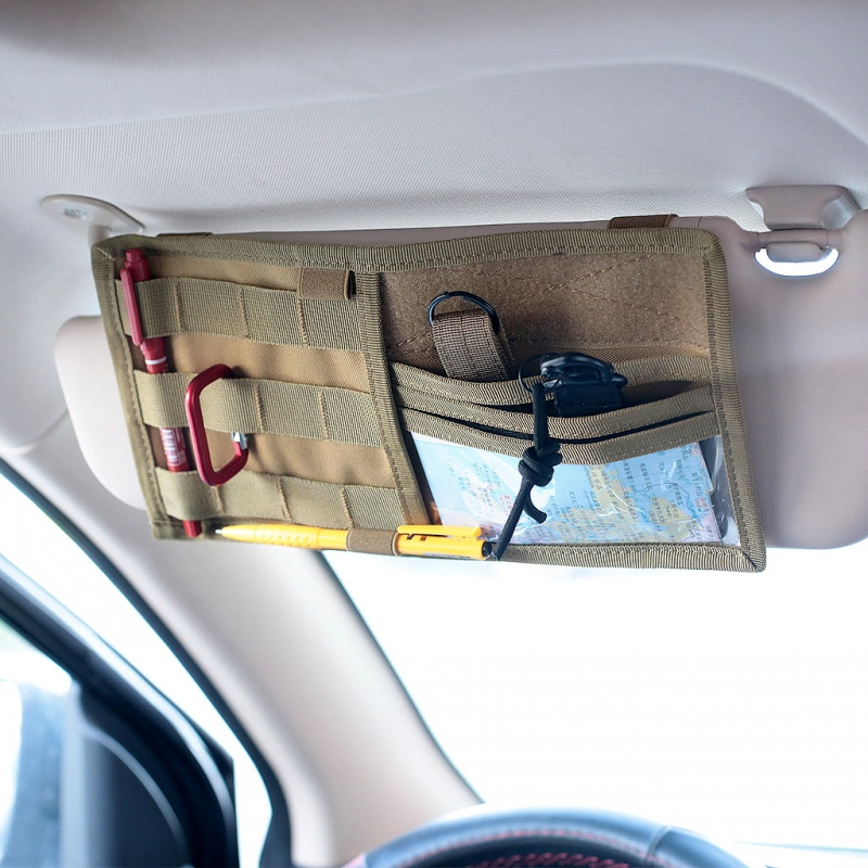 Tactical Molle Vehicle Visor Panel Auto Accessories Car Truck Sun Visor Organizer CD Storage Bag Holder EDC Tool Belt Pouch