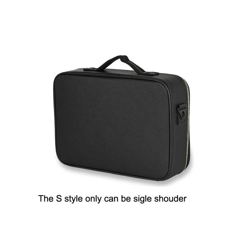 Leather Clapboard Cosmetic Bag Professional Make Up Box Large Capacity Storage Handbag Travel Insert Toiletry Makeup  suitcase