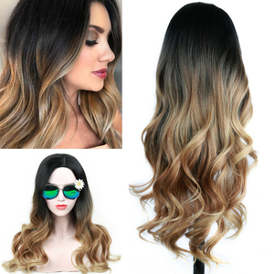 Image 1 - FAVE Long Wavy Wig Ombre Black Brown Blonde Gray Red Synthetic Hair Heat Resistant Fiber For Black Women Daily /Cosplay/Party
