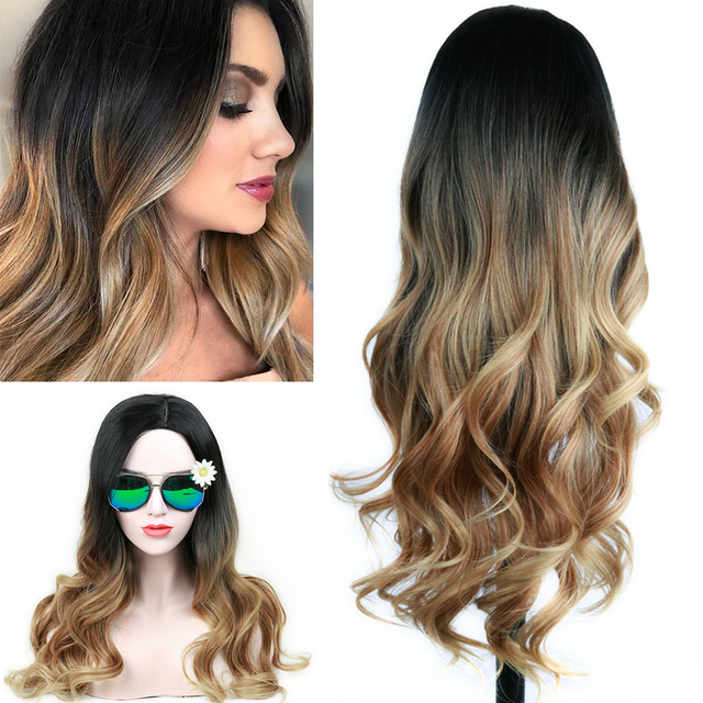 FAVE Long Wavy Wig Ombre Black Brown Blonde Gray Red Synthetic Hair Heat Resistant Fiber For Black Women Daily /Cosplay/Party