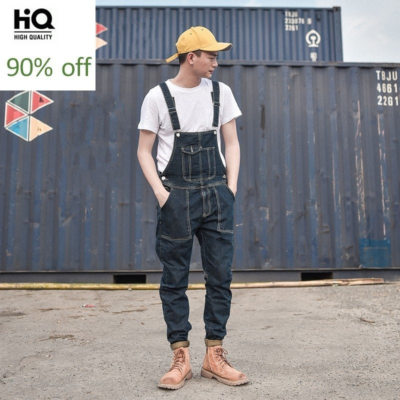 Designer Summer Denim Overalls For Men Streetwear Fashion Slim Fitness Work Jeans Homme Japan Style Trousers Cowboy Jumpsuit