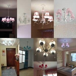 Image 3 - Nordic led kronleuchter mit stoff lampenschirm für wohnzimmer rosa decke kronleuchter beleuchtung moderne weiß anhänger lampe schlafzimmer