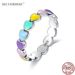SILVERHOO Genuine 925 Sterling Silver Stackable Rainbow Heart Finger Rings For Women Wedding Engagement Ring Statement Jewelry
