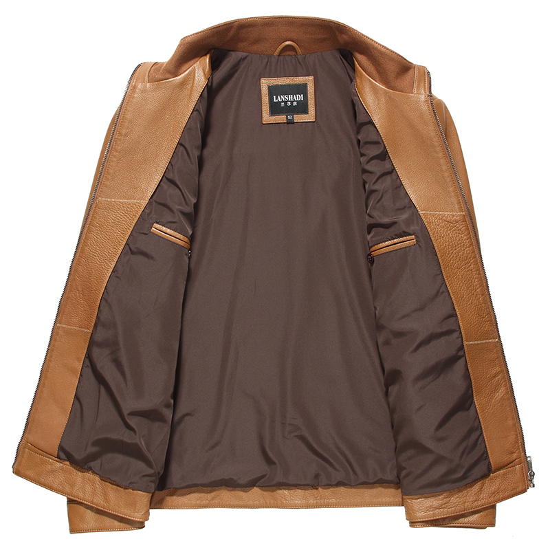 Genuine Leather Jacket Men Spring Autumn Real Cow Leather Coat Leather Jacket Blouson Cuir Homme 14C909 YY316