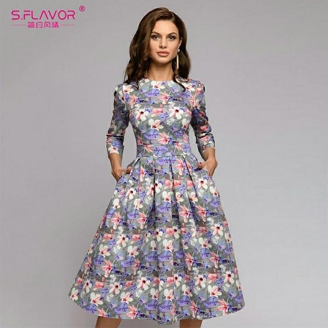 S,FLAVOR Women Summer Midi Dress Hot Sale Elegant Printing A line Dress For Female O neck Long sleeve Vintage Casual Vestidos