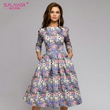 S,FLAVOR 여성 여름 미디 드레스 뜨거운 판매 우아한 인쇄 a 라인 드레스 여성 o 넥 긴 소매 빈티지 캐주얼 Vestidos