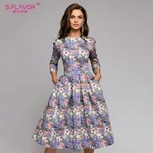 S, saveur femmes automne hiver robe offre spéciale Style décontracté impression longue robe pour femme o cou à manches longues l