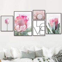 Pink Protea Cynaroides Quote Wall Art Print Canvas Painting Nordic Poster And Prints Pictures For Living Room Decor
